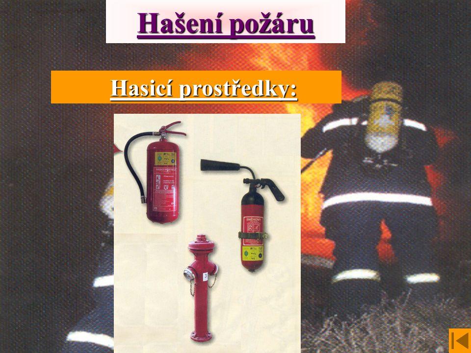 Hašení požáru Hasicí prostředky: