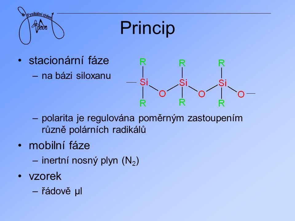 Princip stacionární fáze mobilní fáze vzorek na bázi siloxanu