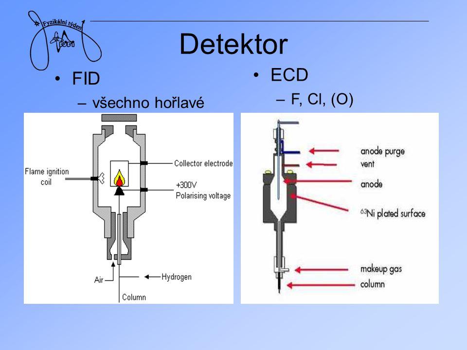 Detektor ECD F, Cl, (O) FID všechno hořlavé