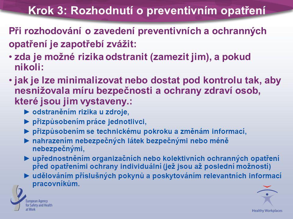 Krok 3: Rozhodnutí o preventivním opatření