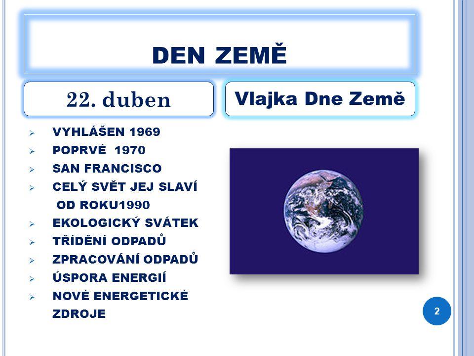 den země 22. duben Vlajka Dne Země VYHLÁŠEN 1969 POPRVÉ 1970