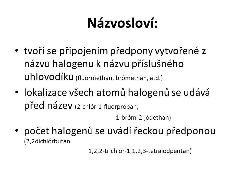 Názvosloví: tvoří se připojením předpony vytvořené z názvu halogenu k názvu příslušného uhlovodíku (fluormethan, brómethan, atd.)