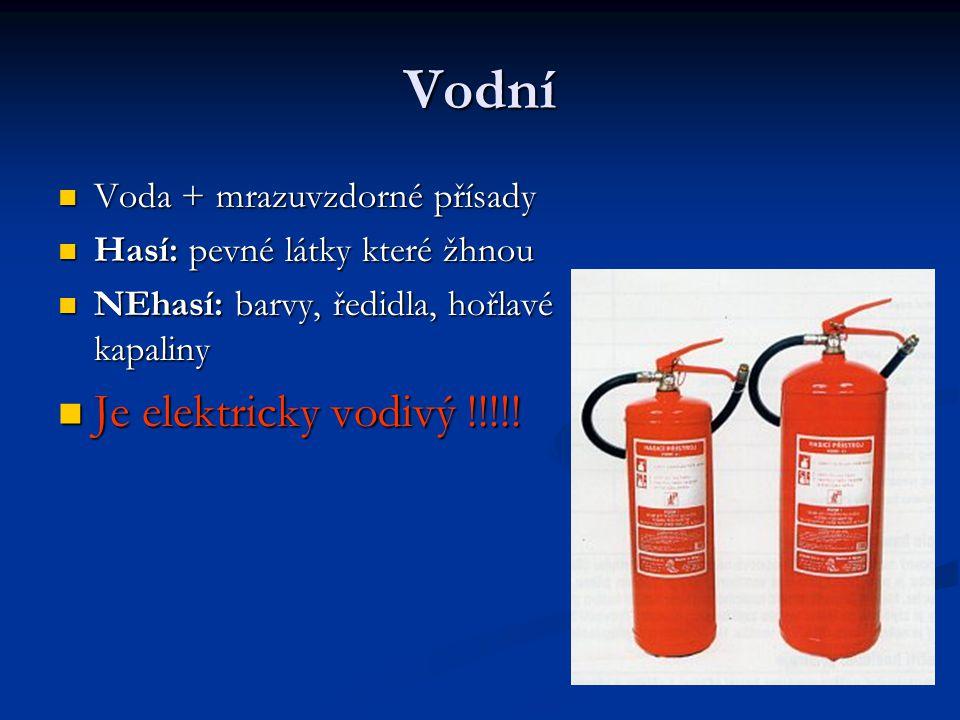 Vodní Je elektricky vodivý !!!!! Voda + mrazuvzdorné přísady