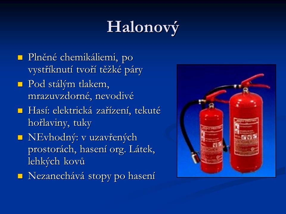 Halonový Plněné chemikáliemi, po vystříknutí tvoří těžké páry