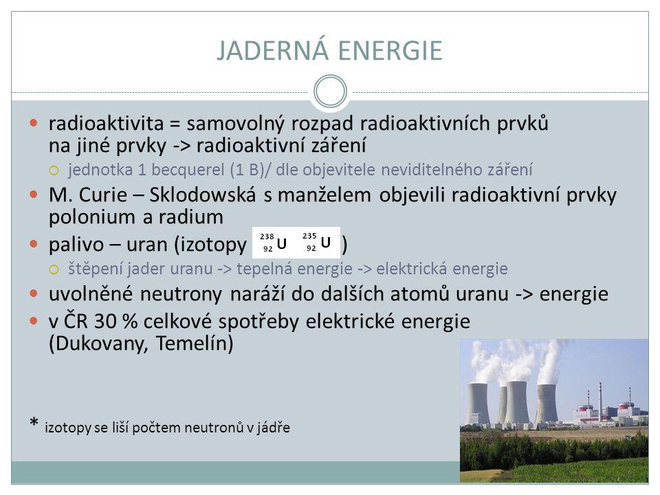 JADERNÁ ENERGIE radioaktivita = samovolný rozpad radioaktivních prvků na jiné prvky -> radioaktivní záření.