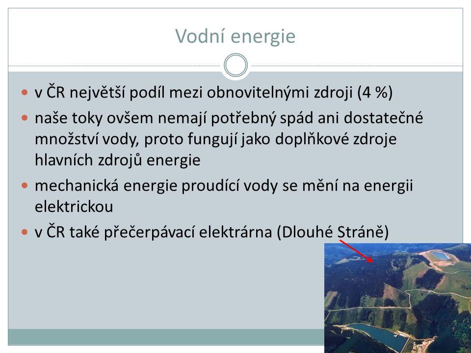 Vodní energie v ČR největší podíl mezi obnovitelnými zdroji (4 %)