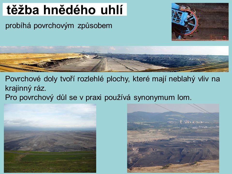 těžba hnědého uhlí probíhá povrchovým způsobem