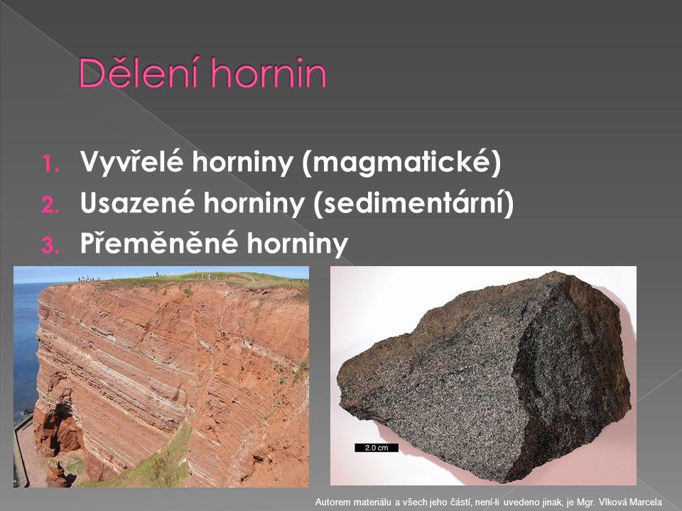 Dělení hornin Vyvřelé horniny (magmatické)