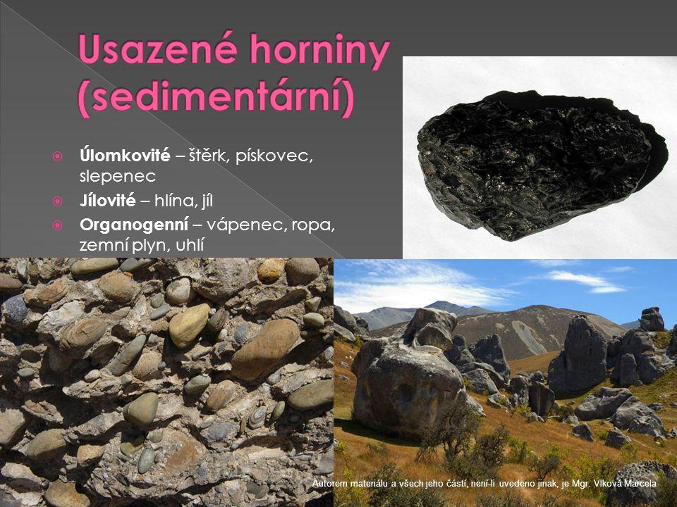 Usazené horniny (sedimentární)