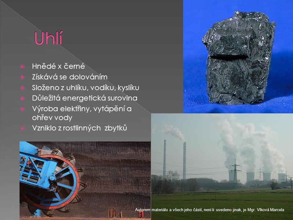Uhlí Hnědé x černé Získává se dolováním