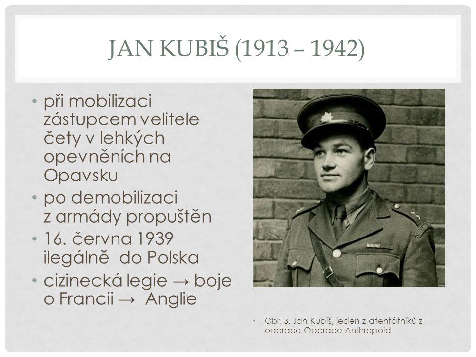 Jan kubiš (1913 – 1942) při mobilizaci zástupcem velitele čety v lehkých opevněních na Opavsku. po demobilizaci z armády propuštěn.