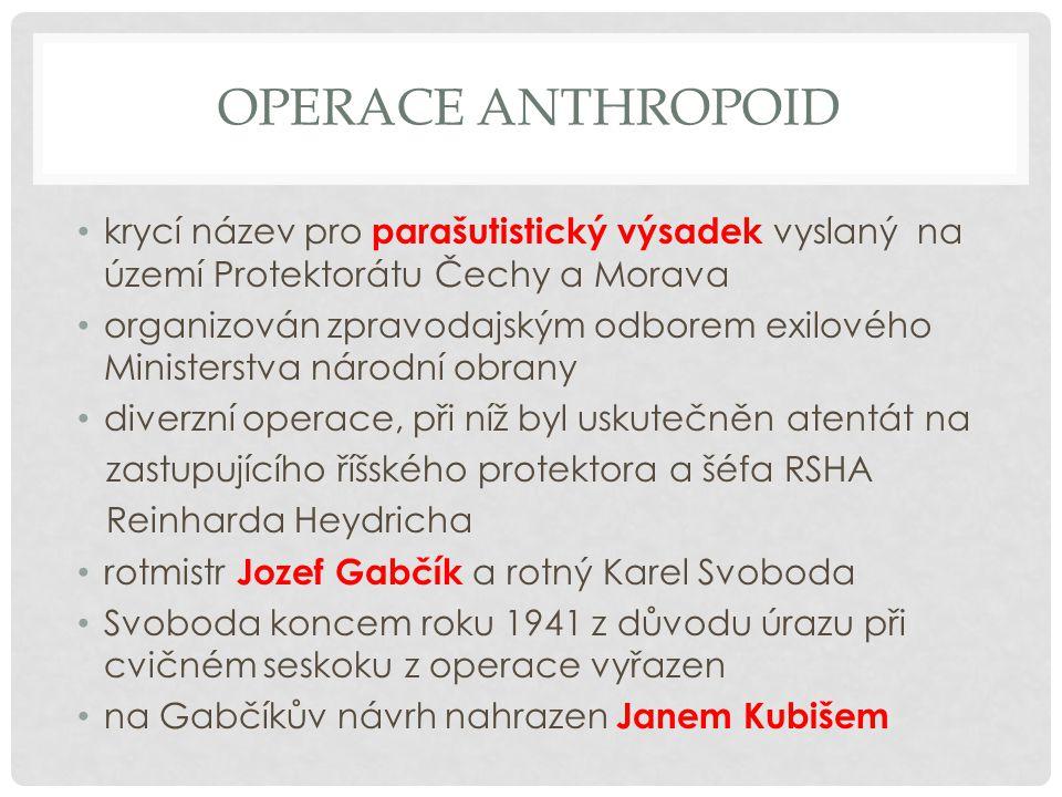 Operace anthropoid krycí název pro parašutistický výsadek vyslaný na území Protektorátu Čechy a Morava.