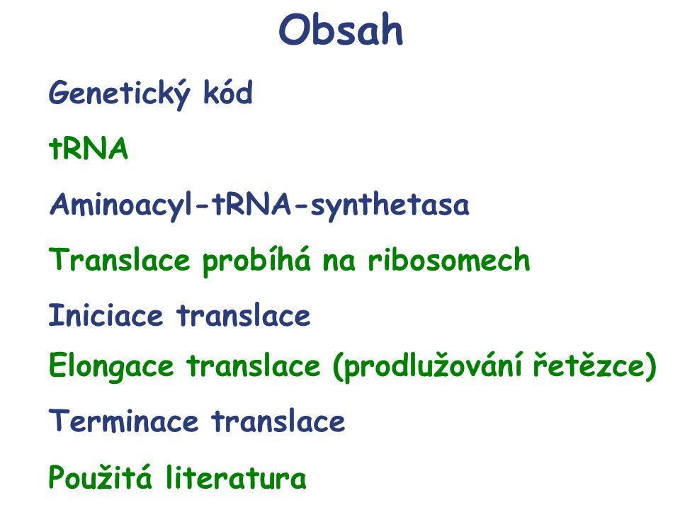 Obsah Genetický kód tRNA Aminoacyl-tRNA-synthetasa