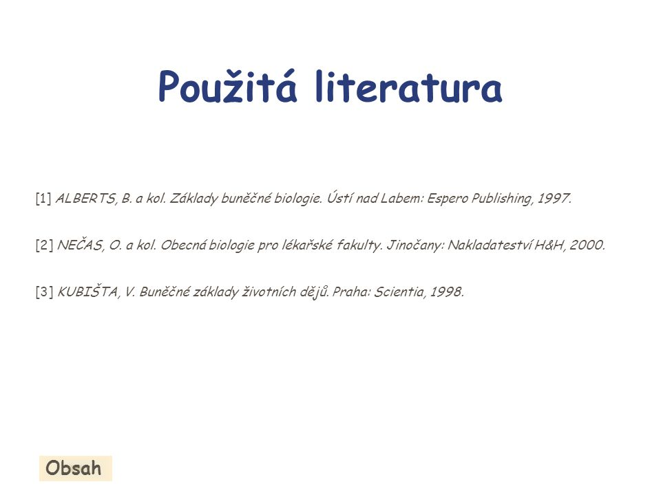 Použitá literatura Obsah