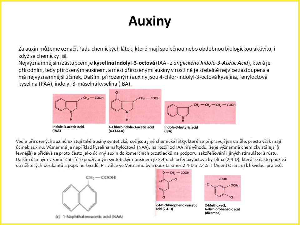 Auxiny Za auxin můžeme označit řadu chemických látek, které mají společnou nebo obdobnou biologickou aktivitu, i když se chemicky liší.