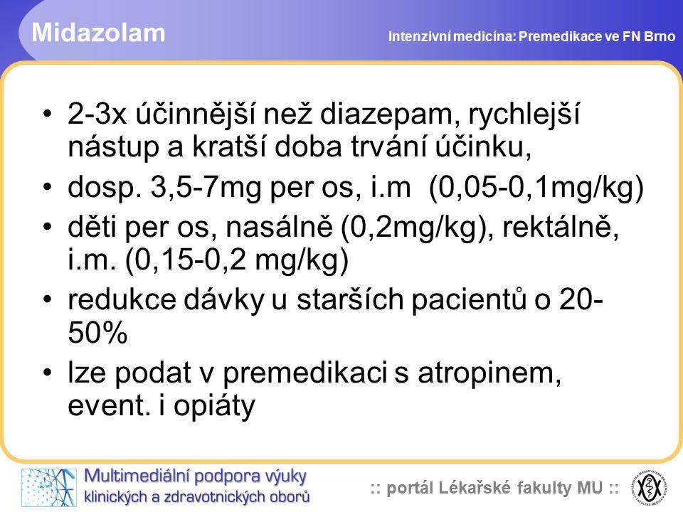 dosp. 3,5-7mg per os, i.m (0,05-0,1mg/kg)