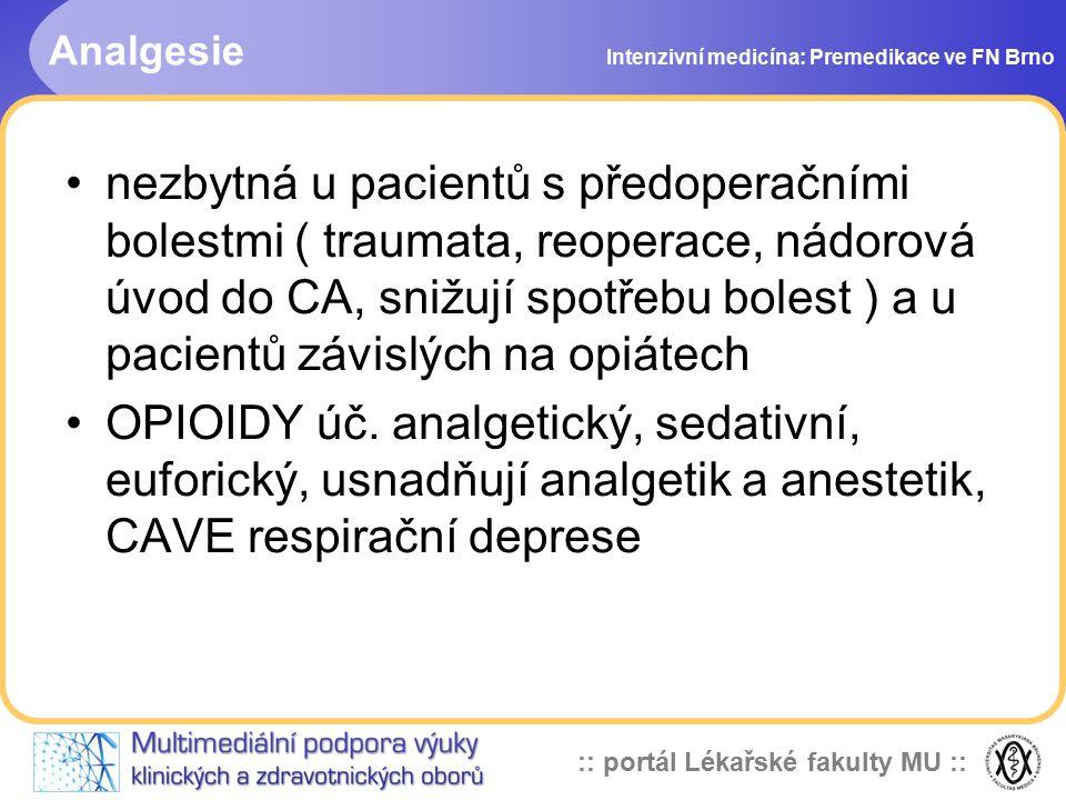 Analgesie Intenzivní medicína: Premedikace ve FN Brno.