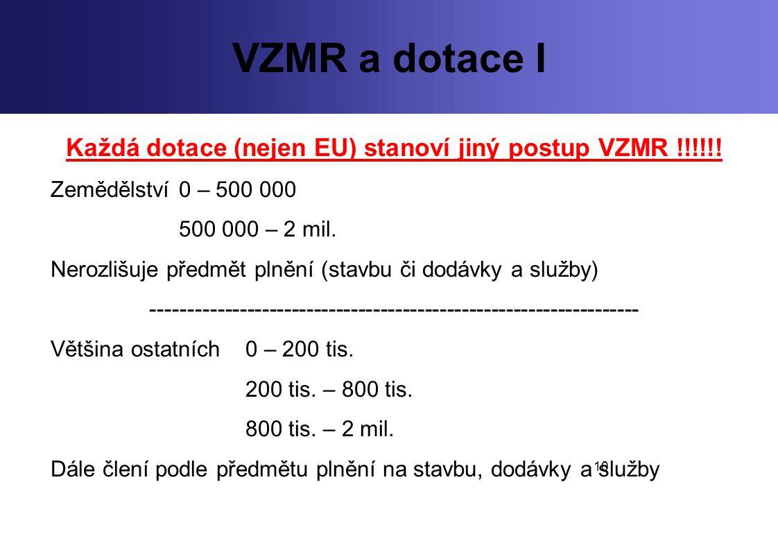 Každá dotace (nejen EU) stanoví jiný postup VZMR !!!!!!