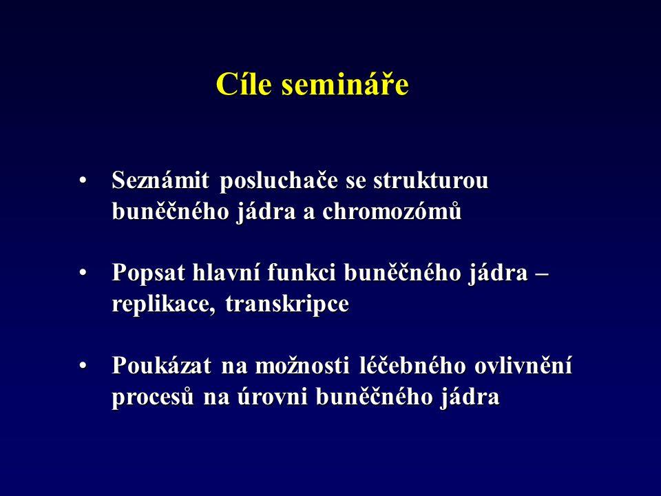 Cíle semináře Seznámit posluchače se strukturou buněčného jádra a chromozómů. Popsat hlavní funkci buněčného jádra – replikace, transkripce.