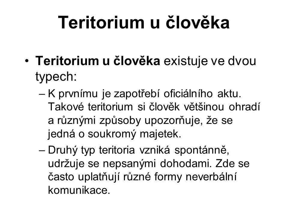 Teritorium u člověka Teritorium u člověka existuje ve dvou typech:
