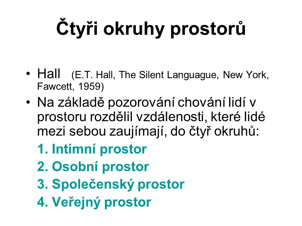 Čtyři okruhy prostorů Hall (E.T. Hall, The Silent Languague, New York, Fawcett, 1959)