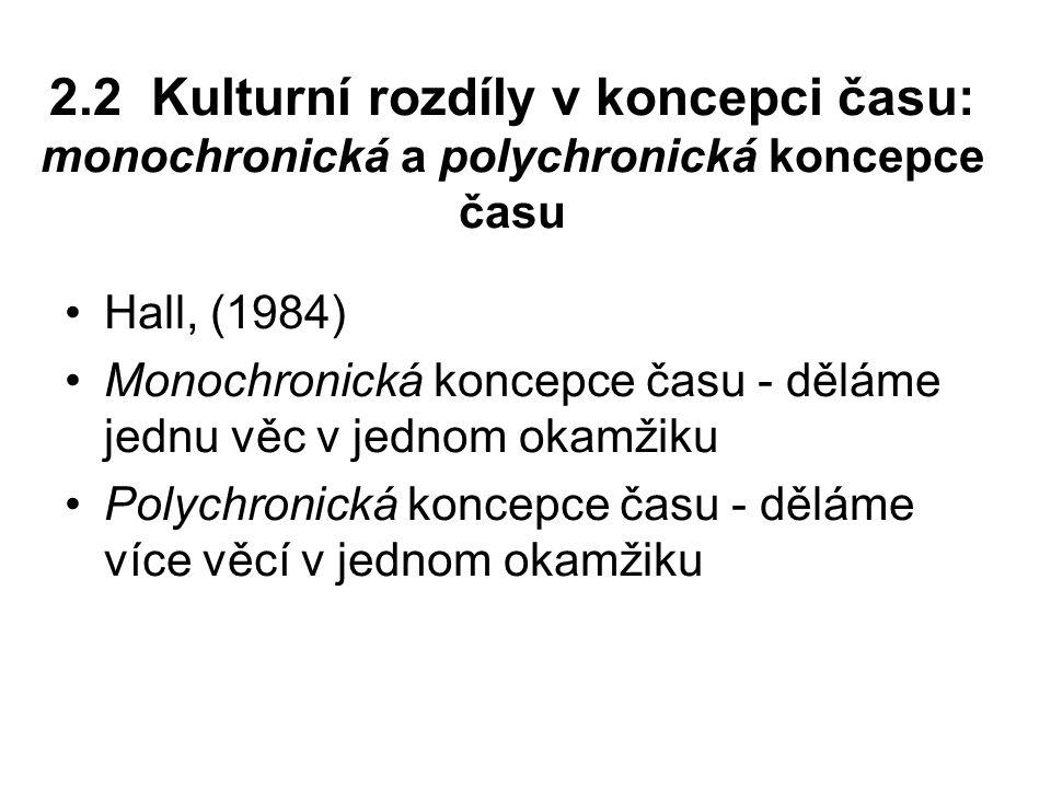 2.2 Kulturní rozdíly v koncepci času: monochronická a polychronická koncepce času