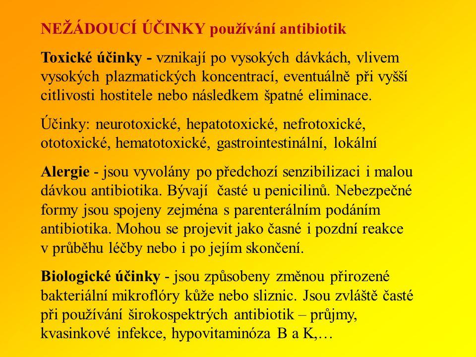 NEŽÁDOUCÍ ÚČINKY používání antibiotik