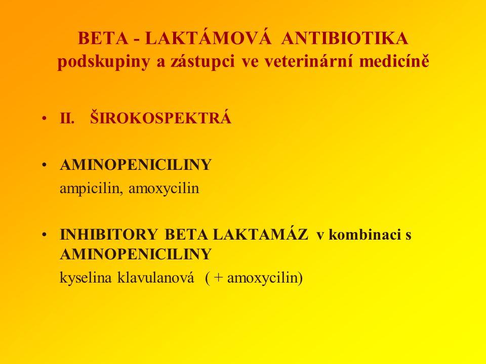 BETA - LAKTÁMOVÁ ANTIBIOTIKA podskupiny a zástupci ve veterinární medicíně