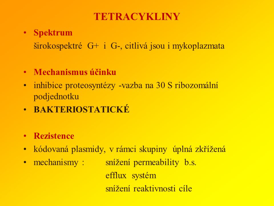 TETRACYKLINY Spektrum