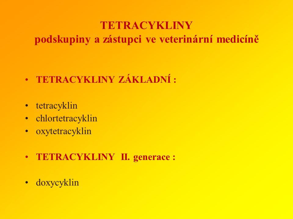 TETRACYKLINY podskupiny a zástupci ve veterinární medicíně