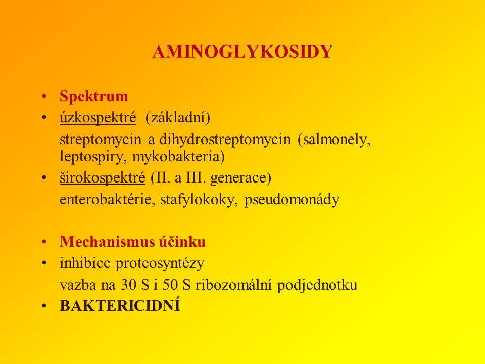 AMINOGLYKOSIDY Spektrum úzkospektré (základní)