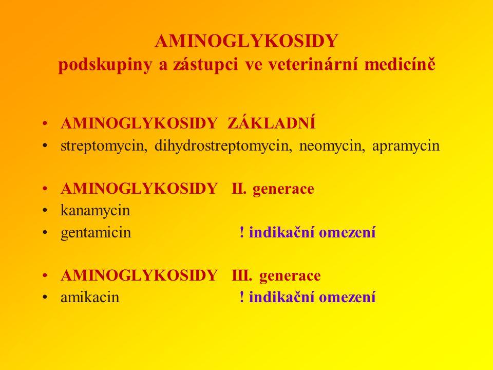 AMINOGLYKOSIDY podskupiny a zástupci ve veterinární medicíně