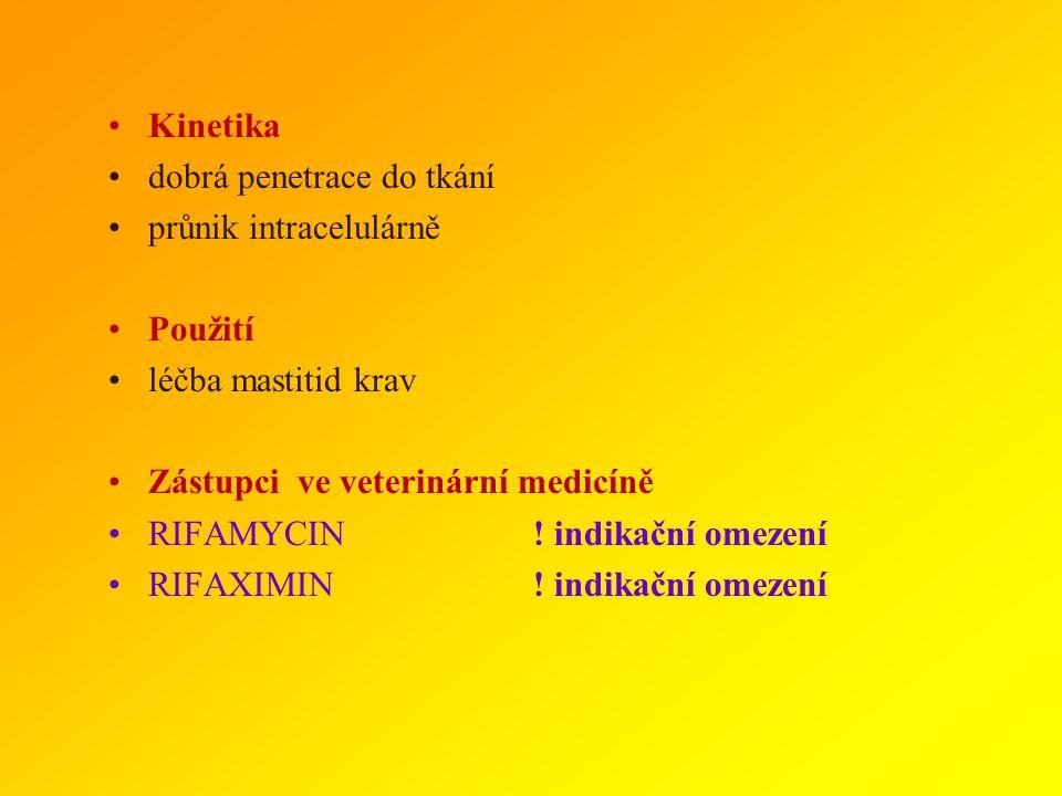 Kinetika dobrá penetrace do tkání. průnik intracelulárně. Použití. léčba mastitid krav. Zástupci ve veterinární medicíně.