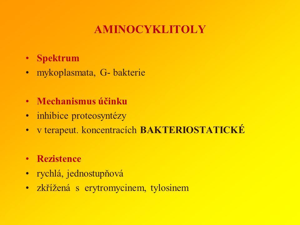AMINOCYKLITOLY Spektrum mykoplasmata, G- bakterie Mechanismus účinku