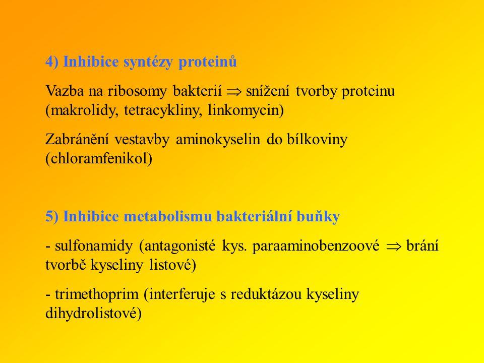 4) Inhibice syntézy proteinů