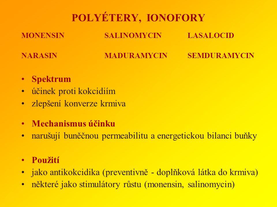 POLYÉTERY, IONOFORY Spektrum účinek proti kokcidiím