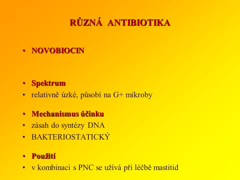 RŮZNÁ ANTIBIOTIKA NOVOBIOCIN Spektrum