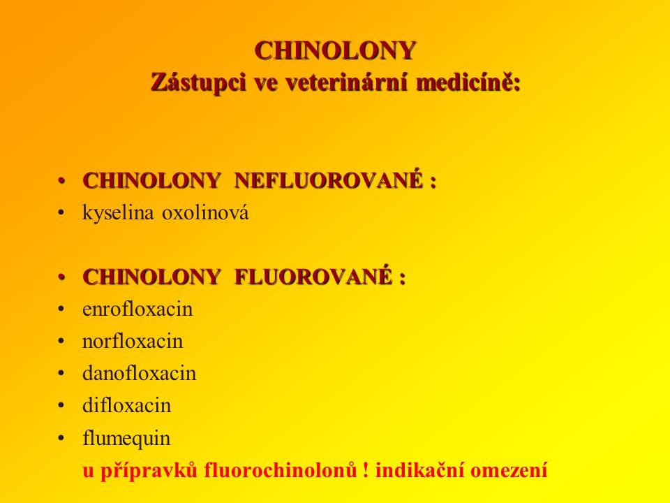 CHINOLONY Zástupci ve veterinární medicíně: