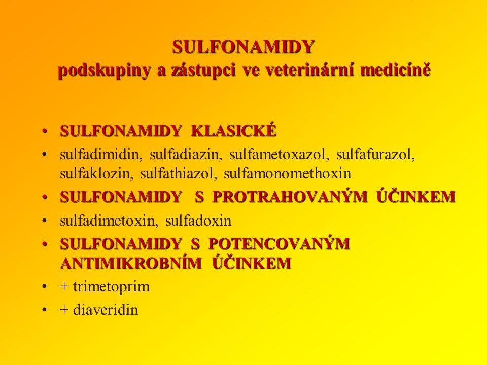 SULFONAMIDY podskupiny a zástupci ve veterinární medicíně