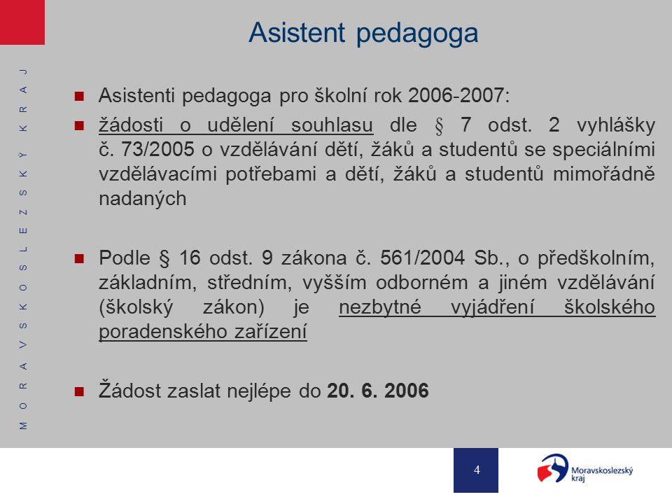 Asistent pedagoga Asistenti pedagoga pro školní rok 2006-2007: