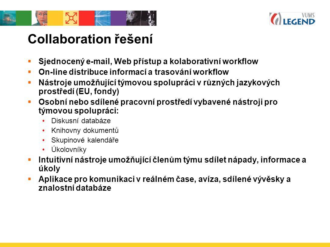 Collaboration řešení Sjednocený e-mail, Web přístup a kolaborativní workflow. On-line distribuce informací a trasování workflow.