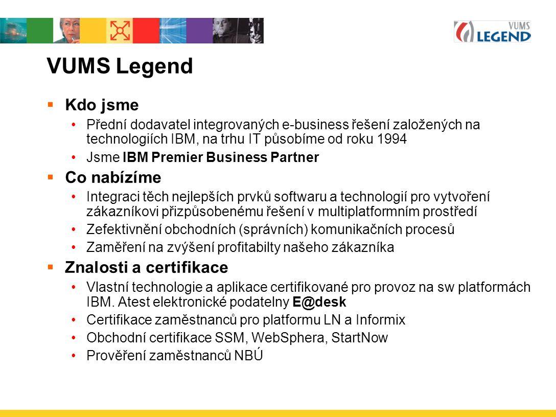 VUMS Legend Kdo jsme Co nabízíme Znalosti a certifikace