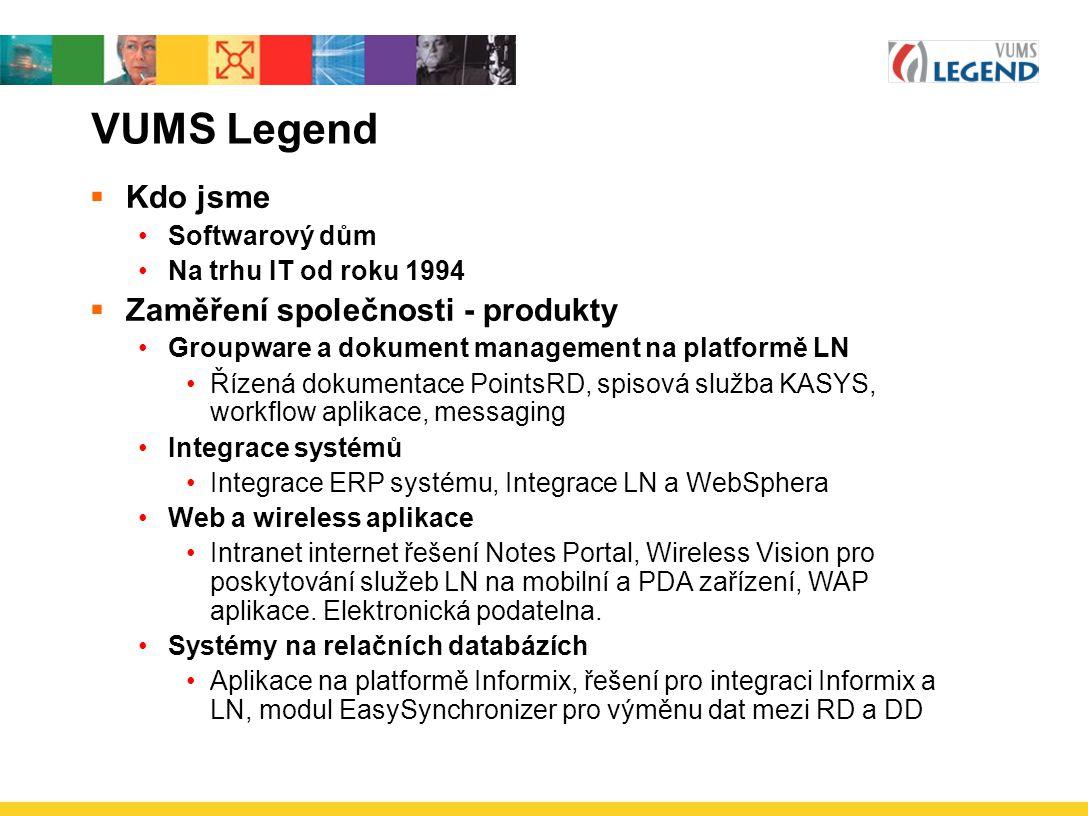 VUMS Legend Kdo jsme Zaměření společnosti - produkty Softwarový dům