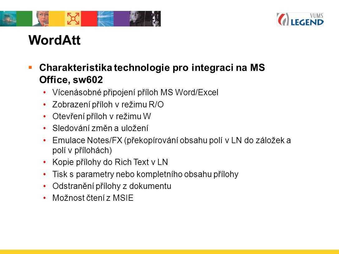 WordAtt Charakteristika technologie pro integraci na MS Office, sw602