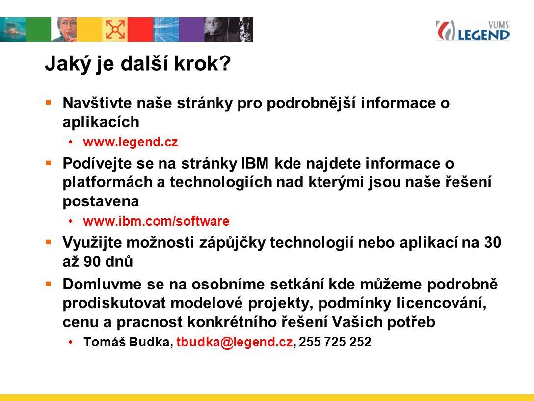 Jaký je další krok Navštivte naše stránky pro podrobnější informace o aplikacích. www.legend.cz.
