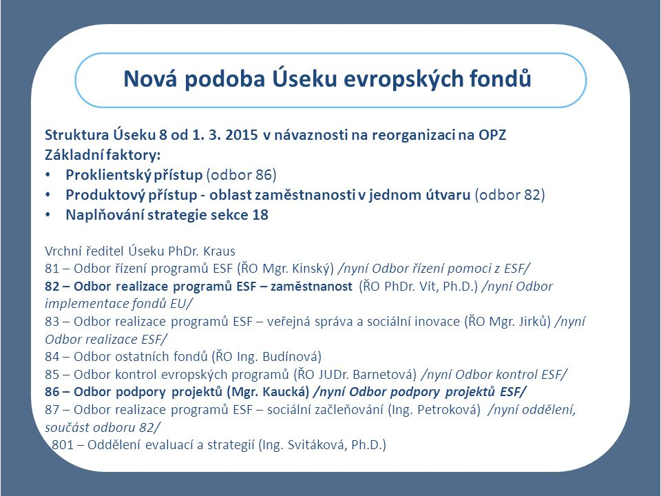 Nová podoba Úseku evropských fondů