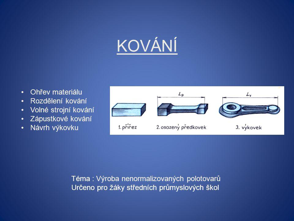 KOVÁNÍ Ohřev materiálu Rozdělení kování Volné strojní kování