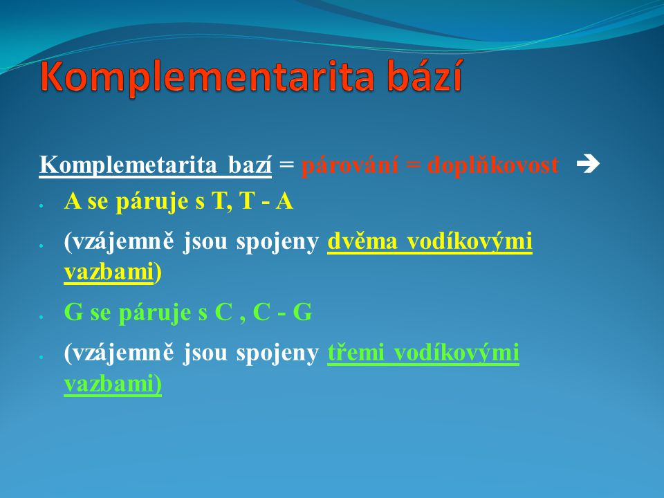 Komplementarita bází Komplemetarita bazí = párování = doplňkovost 