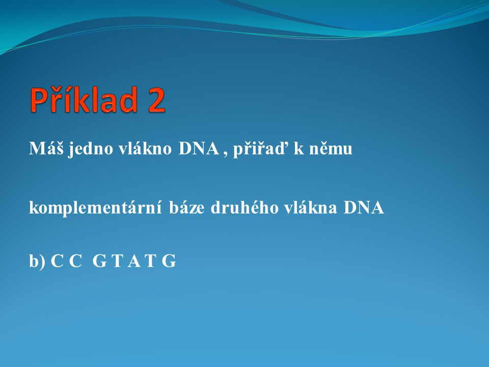 Příklad 2 Máš jedno vlákno DNA , přiřaď k němu