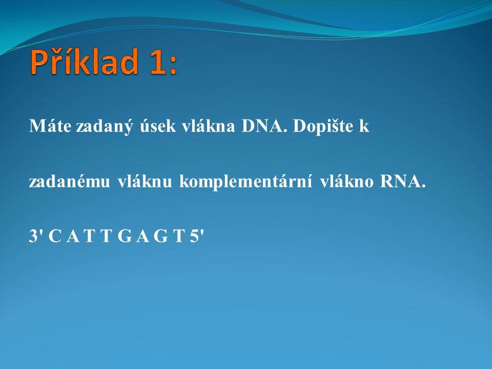 Příklad 1: Máte zadaný úsek vlákna DNA. Dopište k
